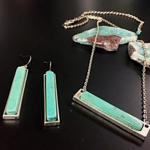 Vintage Country Couture Jewelry - Turquoise Bar Necklace & Earrings
